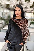 Костюм бархат чёрный +леопард 46\48\50\52