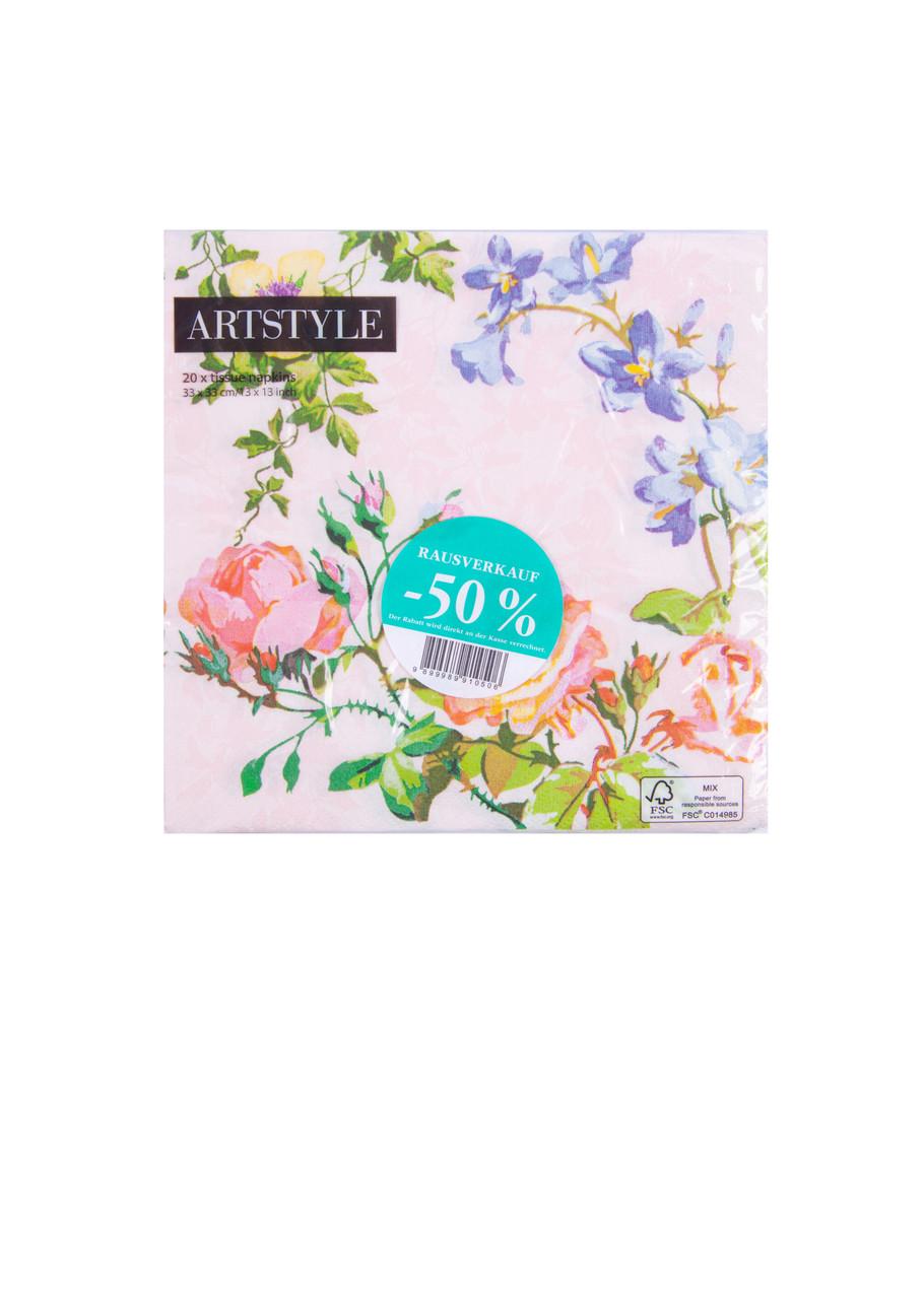 Салфетки ArtStyle цветы LIDL 20 шт 33х33см