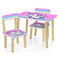 Детский столик с двумя стульчиками 501-65 розового цвета,Единорог.