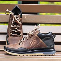 Зимние мужские кроссовки New Balance коричневые кожаные с мехом 41-46р. Живое фото