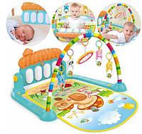 Коврик развивающий для малышей HE0639 пианино, подвески, музыкальный, свет, звук
