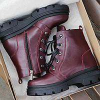 Зимние женские ботинки на платформе высокие бордовые кожаные 36-40рр. Живое фото