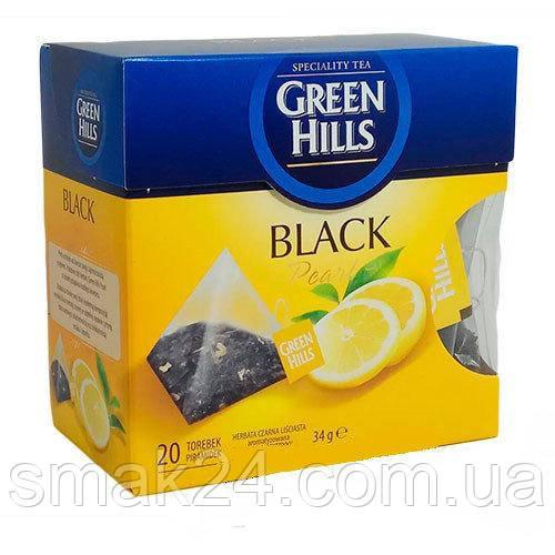Чай черный листовой Green Hills  с лимоном 20 пирамидок  Польша