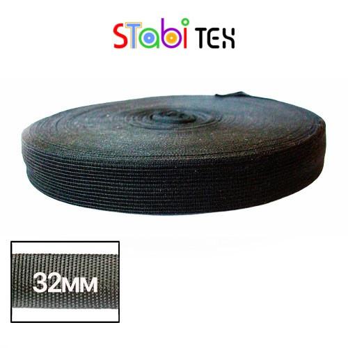 Лямовка тесьма окантовочная (обтачка) 32мм - 320гр (100м/боб) Чёрная