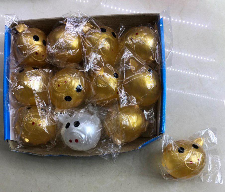 Антистресс липкий водяной шар | Мягкая резиновая игрушка Свинка золотая и белая