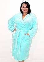 Махровый батальный халат на запах с капюшоном со стразами нежно-голубой, фото 1