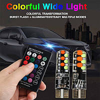 Світлодіодні автомобільні лампи RGB LED T10 W5W + пульт (16 кольорів, стробоскоп, мигалка)