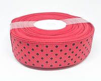 Красная репсовая лента в черный горошек 25 метров