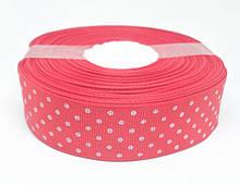 Лента репсовая красная в белый горошек 25 метров