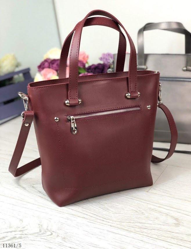 Сумка бордовая женская трапеция сумочка классическая деловая среднего размера