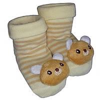 Носки-игрушки для младенцев мишки не скользящие George baby S 3-6 месяцев коричнево-желтые GS703