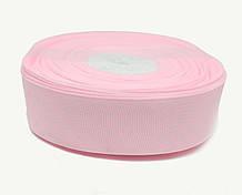 Репсовая лента для декора розовая в белый горошек
