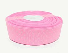 Лента декоративная репсовая в белый горошек розовая