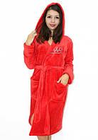 Махровый халат на запах с капюшоном со стразами красный, фото 1