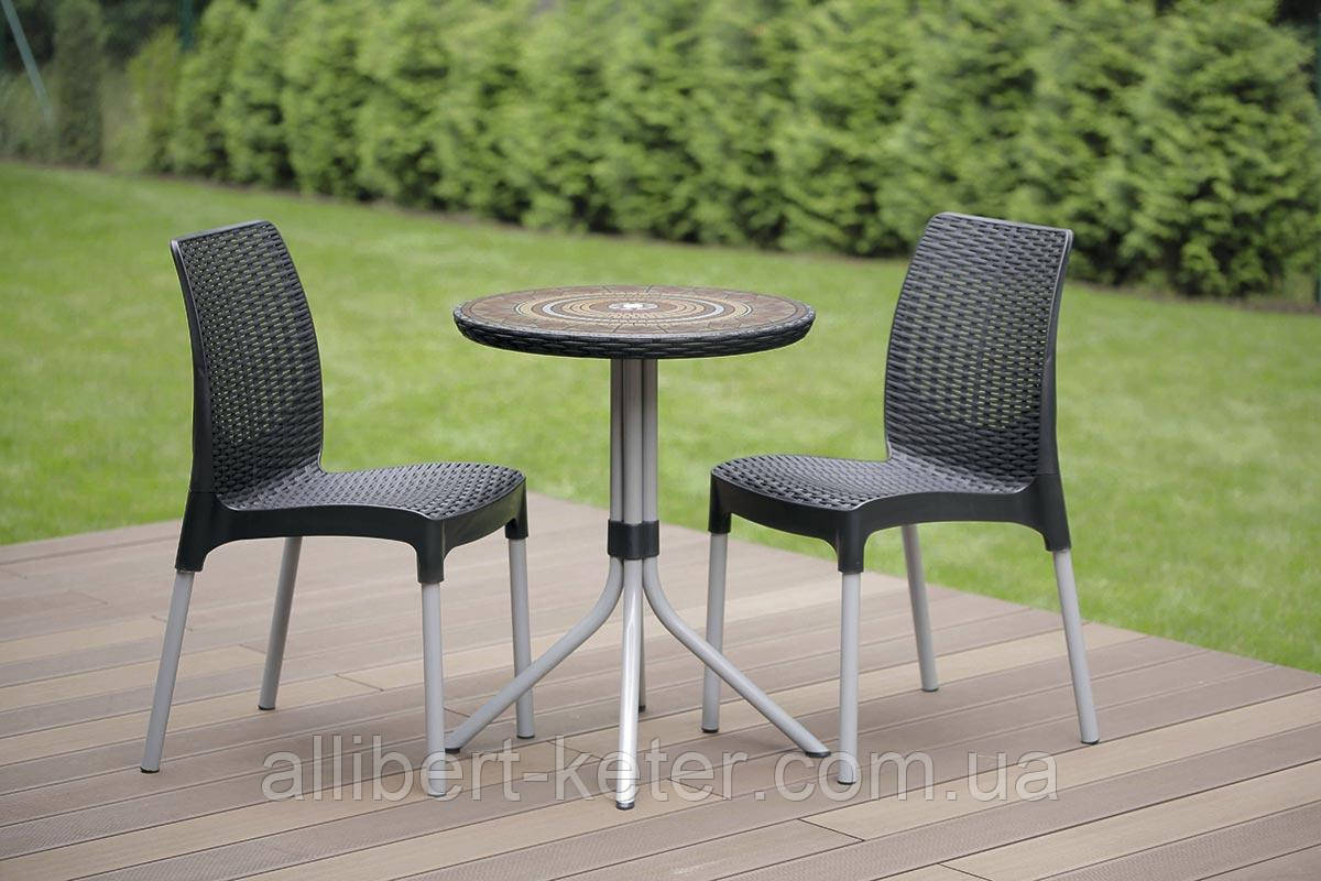 Набір садових меблів Chelsea Set With Mosaic Table з штучного ротанга ( Allibert by Keter )
