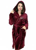 Махровый халат на запах с капюшоном со стразами бордовый, фото 1