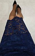 Юбка кружевная арт. 814 гипюр синяя