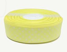 Лента швейная фурнитура в белый горошек желтая светлая