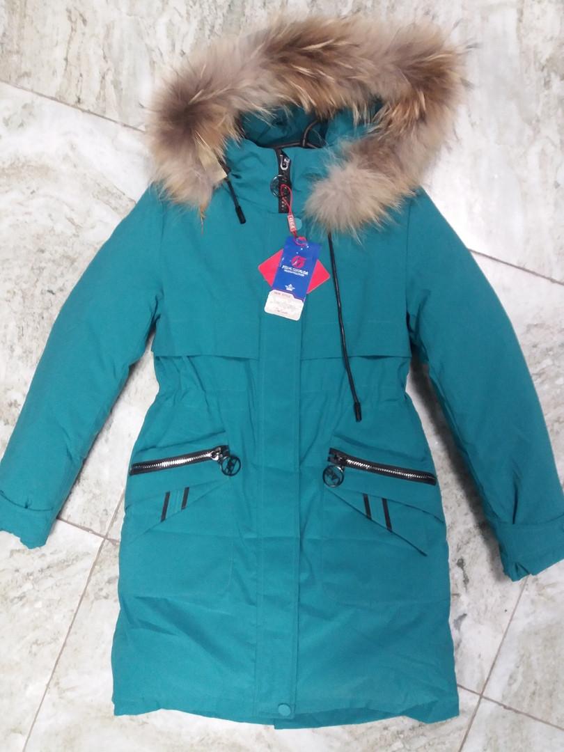 Зимняя парка куртка для девочек, подростков с натуральным енотом от 140 см и до 164 см