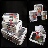Стильная коробка для подарков, прозрачное окошко, металл, 14х10х5.5 см., 80 гр.