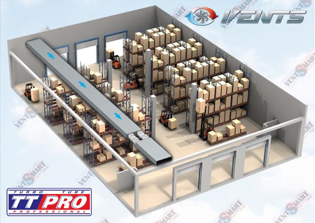 Вариант использования вентилятора Вентс ТТ Про 150 на складе (последовательно-параллельное включение канальных вентиляторов)