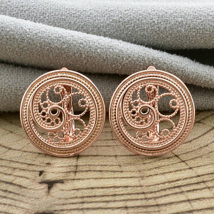 Серьги круглые ажурные без камней позолота, фото 2
