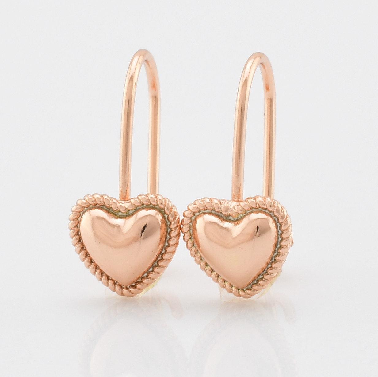 Серьги маленькие сердечки классика позолота