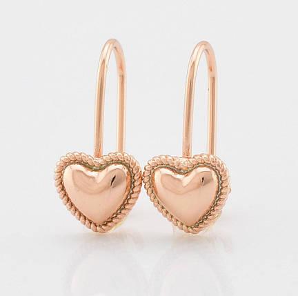 Серьги маленькие сердечки классика позолота, фото 2
