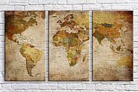 Картина модульная HolstArt Карта мира 55*100см арт.HAT-235