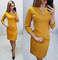 Платье с булавкой ( арт. 805 ), ткань креп, цвет горчица, фото 1