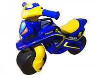 Мотобайк беговел детский музыкальный Полиция - качественный детский беговел синего цвета