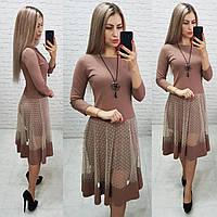 Платье люкс, арт 146,ткань креп- дайвинг, цвет кофе