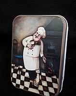 """Металлическая коробочка под подарки """"Повар"""", 12х8.5х4 см., 55 гр."""