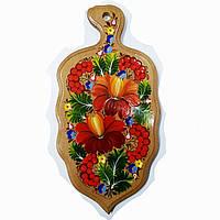 Доска разделочная кухонная петриковская роспись (листок)