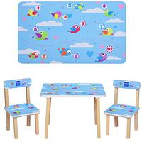 Столик детский с двумя стульчиками 501-39 голубого цвета,Птички.