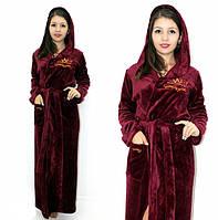 Махровый халат длинный с вышивкой бордовый, фото 1