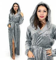 Махровый халат длинный с вышивкой серый, фото 1