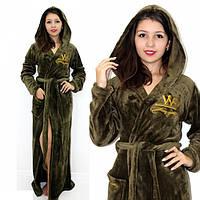 Махровый халат длинный с вышивкой зеленый бутылочный, фото 1