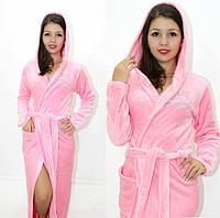 Махровый халат длинный с вышивкой розовый, фото 1