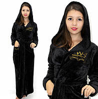 Махровый халат длинный с вышивкой черный, фото 1