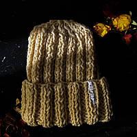 Теплая женская вязаная шапка спицами из шерсти в молодежном стиле КОХАНА «Меланж»