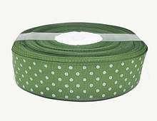 Оливковая лента репсовая для декора и подарков