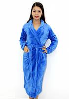 Махровый халат без капюшона голубой, фото 1