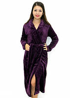 Махровый халат без капюшона фиолетовый, фото 1