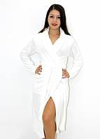 Махровый халат без капюшона белый, фото 1