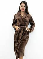 Махровый халат без капюшона зеленый коричневый