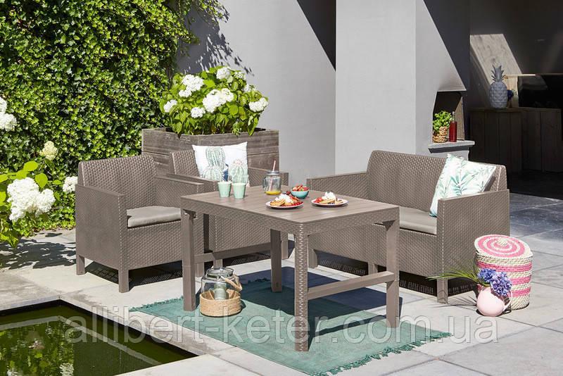 Набор садовой мебели Chicago Set With Wicker Lyon Table Cappuccino ( капучино ) из искусственного ротанга
