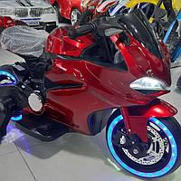 Детский электромобиль Мотоцикл M 4104 ELS-3, EVA колеса, LED подсветка, красный лак