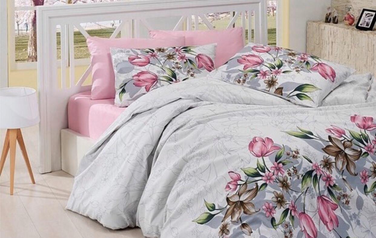 Двуспальное постельное бельё Розовые Тюльпаны
