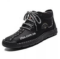 Мужские ботинки натуральная кожа с мехом размер 43 черные, фото 1